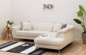 Furny Tassos Four Seater L shape RHS Sofa with Adjustable Headrest (Cream Brown)