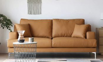 Furny Clorida Three Seater Leatherette Sofa (Camel)