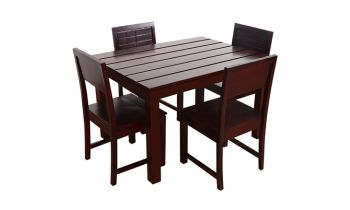 Furny Taj 4 Seater Dining Table Set (Mahogany Polish)