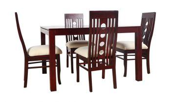 Furny Franco Teak Wood Dining Table Set (Mahogany Polish)