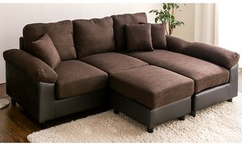 Furny Bradchester Five Seater L Shape Interchangeable Sofa (Brown-Black)