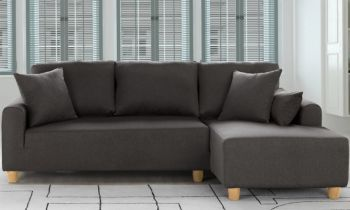Furny Elon Four Seater L Shape Sofa (Dark Grey)