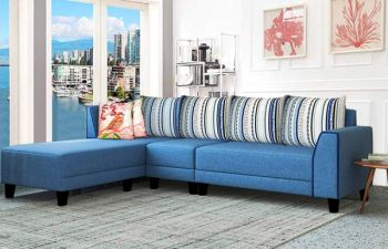 Furny Morisan 6 Seater Fabric L Shape Sofa Set (Blue)