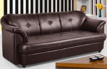 Furny Reece 3 Seater Leatherette Sofa (Brown)