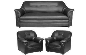 Furny Senberg Leatherette 3+1+1 Seater Seater Sofa (Black)