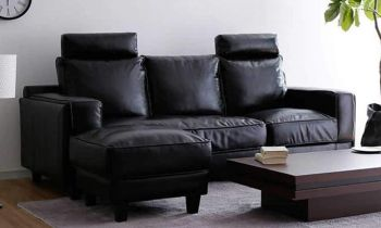 Furny Analora L shape interchangeable Four seater Sofa (Black)