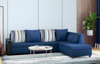 Furny Casprona Designer 6 Seater L Shape Sofa Set (Blue)