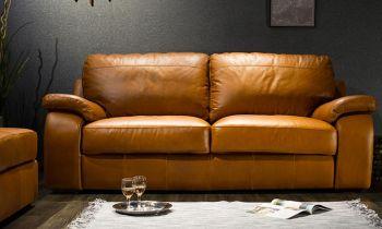 Furny Barney Three Seater Leatherette Sofa (Tan)