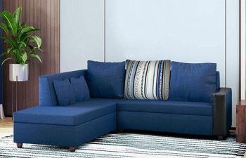 Furny Casprona Designer 4 Seater Fabric L Shape Sofa Set (Blue)