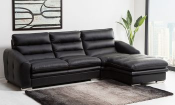 Furny Buffay Four Seater Leatherette L Shape Sofa (Black)