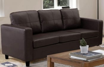 Furny Dinos 3 Seater Leatherette Sofa Set (Brown)