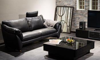 Furny Natali Three Seater Leatherette Sofa (Black)