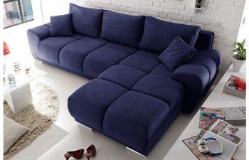 Furny Casaprime 4 Seater Premium Fabric L Shape Sofa Set (Blue)