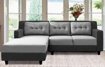 Furny Travo 4 Seater Fabric  L Shape Sofa Set (Light Grey-Dark Grey)