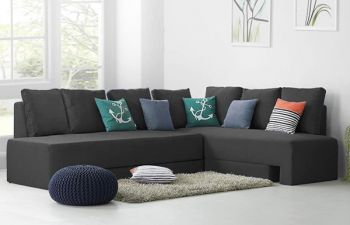 Furny Sleepoy 6 Seater Fabric Corner Sofa Cum Bed Set (Dark Grey)