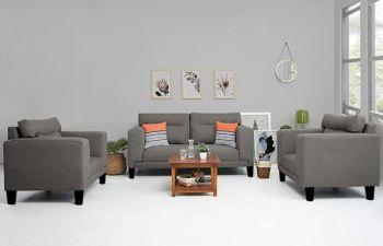 Furny Barcelona 5 Seater Fabric 3+1+1 Sofa Set (Dark Grey)