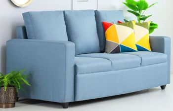 Furny Jameston 3 Seater Fabric Sofa Set (Sky Blue)