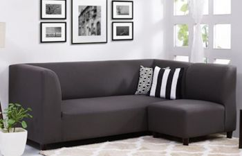 Furny Germany 4 Seater Fabric Interchangeable L Shape Sofa Set (Dark Grey)