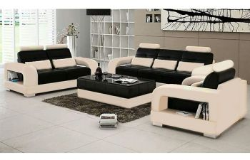 Furny Dezino Leatherette 6 Seater 3+2+1 Sofa Set (Cream-Black)
