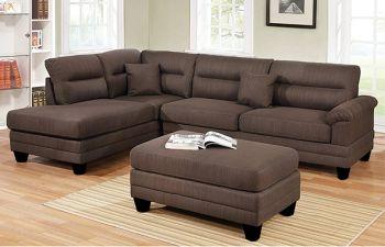 Furny Brenson Fabric 5 Seater L Shape Sofa Set (Dark Brown)