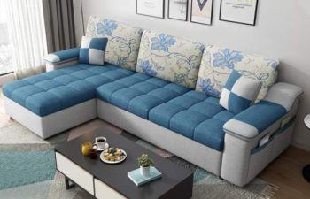 Furny Doriana Fabric 4 Seater L Shape Sofa Set (Blue-Grey)