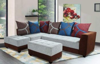 Furny MultiStyle 7 Seater L-Shaped Sofa Set - LHS (3 Seater + 2 Seater + 2 Puffy) Combo (Light Grey-Brown)
