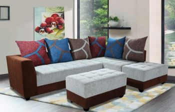 Furny MultiStyle 7 Seater L-Shaped Sofa Set - RHS (3 Seater + 2 Seater + 2 Puffy) Combo (Light Grey-Brown)