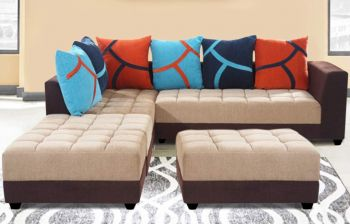 Furny MultiStyle 7 Seater L-Shaped Sofa Set - LHS (3 Seater + 2 Seater + 2 Puffy) Combo (Beige-Brown)