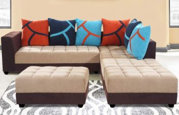 Furny MultiStyle 7 Seater L-Shaped Sofa Set - RHS (3 Seater + 2 Seater + 2 Puffy) Combo (Beige-Brown)