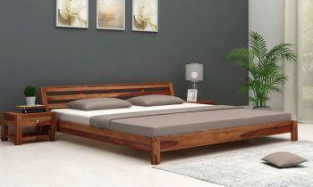 Furny Abbie Teak Wood Bed (Teak Polish)