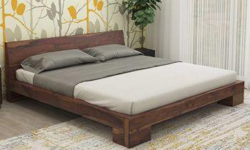 Furny Sienna Teak Wood Bed (Teak Polish)
