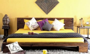 Furny Norway Teak Wood Bed (Teak Polish)