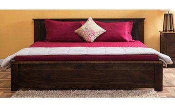 Furny Blaxton Teak Wood Bed with Storage (Teak Polish)