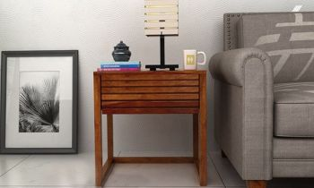 Furny Brony Teakwood Bedside Table (Teak Polish)