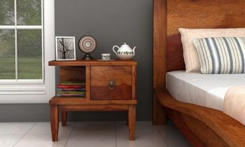 Furny Flora Teakwood Bedside Table (Teak Polish)