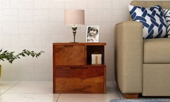 Furny Boxy Teakwood Bedside Table (Teak Polish)