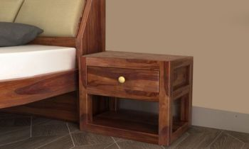 Furny Walker Teakwood Bedside Table (Teak Polish)