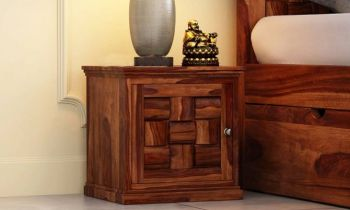 Furny Bricky Teakwood Bedside Table (Teak Polish)
