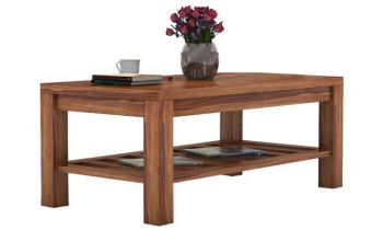 Furny Jordon Teakwood Coffee Table With Two Stools (Teak Polish)