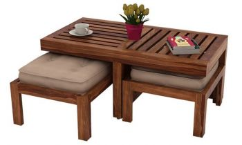 Furny Boston Teakwood Coffee Table With Two Stools (Teak Polish)