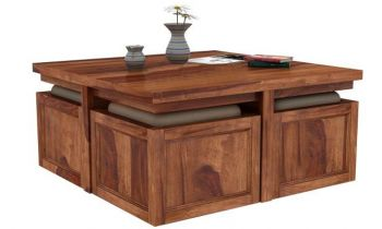 Furny Gravia Teakwood Coffee Table With Four Ottomons (Teak Polish)