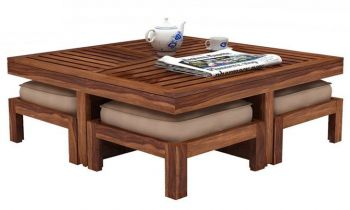 Furny Gustavo Teakwood Coffee Table With Four Stools (Teak Polish)