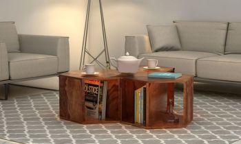 Furny Hexagon Teakwood Coffee Table (Teak Polish)