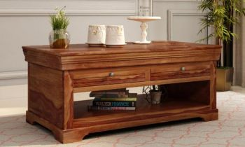 Furny Bradford Teakwood Coffee Table (Teak Polish)
