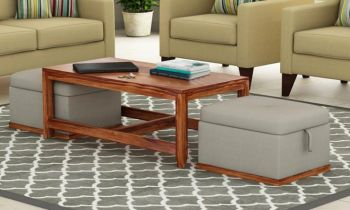 Furny Jacobs Teakwood Coffee Table With Two Ottomons (Teak Polish)