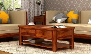 Furny Loren Teakwood Coffee Table (Teak Polish)