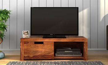 Furny Orchid Teakwood TV Unit (Teak Polish)
