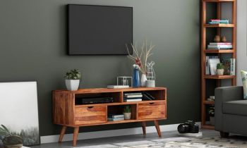 Furny Eden Teakwood TV Unit (Teak Polish)