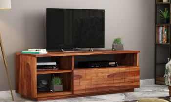 Furny Marlow Teakwood TV Unit (Teak Polish)