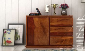 Furny Aspen Teakwood Chest of Drawer (Teak Polish)